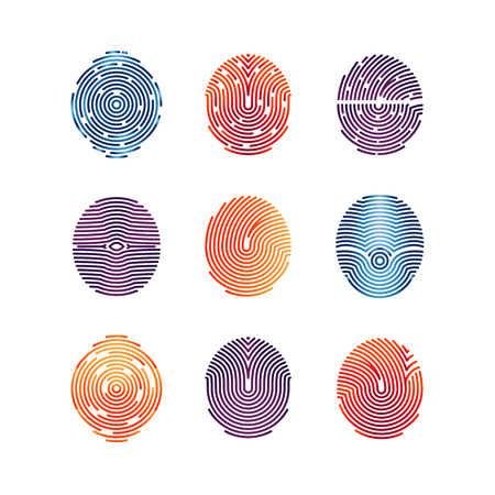 Colorful fingerprints icons - biometric info. biometric fingermark illustration flat