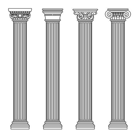 ギリシャおよびローマ建築の古典的な石の柱。アウトラインのベクター イラストです。アーキテクチャ] 列と古代の柱