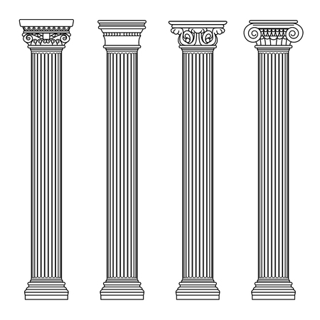Greek and roman architecture classic stone colomns. Outline vector illustration. Architecture column and pillar ancient Ilustracja