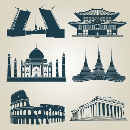 Vector silhouettes of world tourist attractions. Famous landmarks and destination symbols pantheon and taj mahal, coliseum and famous landmark illustration Vectores