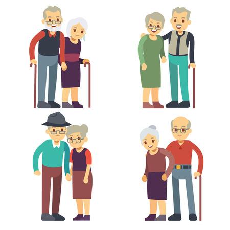 Uśmiechnięta i szczęśliwa stare pary. Osoby w podesz? Ym wieku rodziny cartoon zestaw znaków. Dziadek i babcia para, kobieta i mężczyzna starszych ilustracji