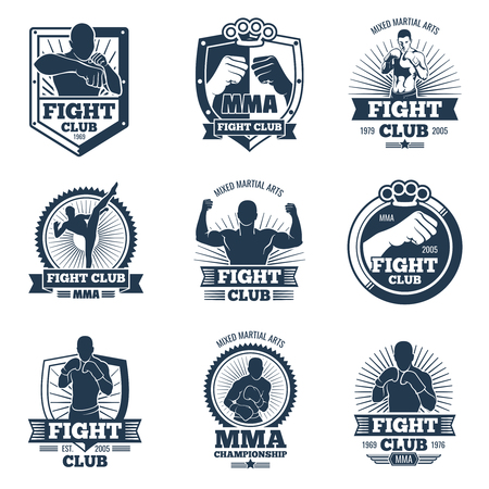 Retro mma vector emblems and labels. Fight club vintage logos. Emblem logo sport boxing and mma club illustration