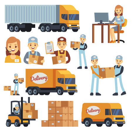 Warehouse workers cartoon vector characters - loader, delivery man, courier and operator. Warehouse delivery business illustration Stok Fotoğraf - 85203672
