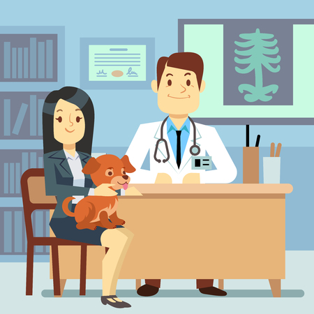Veterinary office - woman with dog and veterinarian. Doctor clinic with dog pet, vector illustration