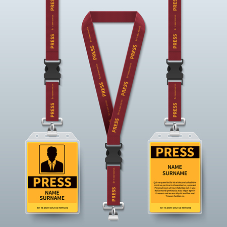 Business press pass id card lanyard badges realistic vector mock up isolated. Holder and lanyard, identity card for security to conference illustration