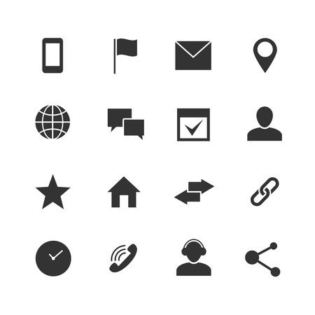 문의 및 통신 인터넷 벡터 아이콘입니다. 홈, 전화 및 이메일 웹 기호. 연락처 흑백 기호 그림