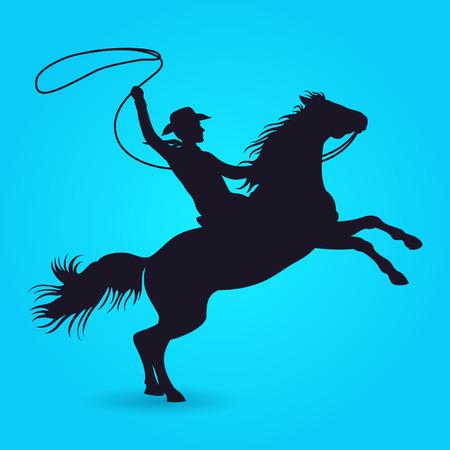 Schattenbild des Cowboys mit Lassoreiten auf Pferd. Schattenbild des männlichen Reitercowboys mit Lasso. Vektor-Illustration Vektorgrafik