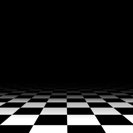 Black and white chess floor background empty. Vector illustration