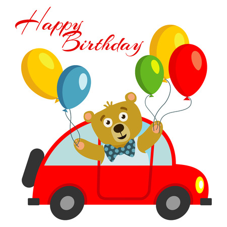 baby announcement card: Happy birthday kids postcard template with bear with balloons in red car. Vector illustration