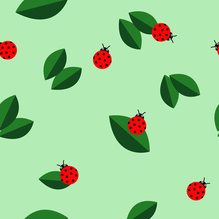 Ladybugs and leaves texture. Vector seamless pattern background illustration