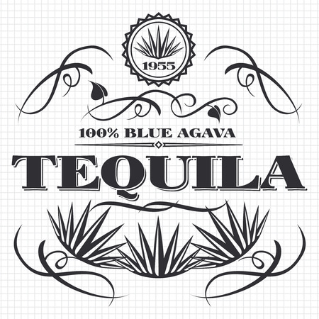 Alcohol drink tequila banner design on notebook page. Vector illustration Çizim