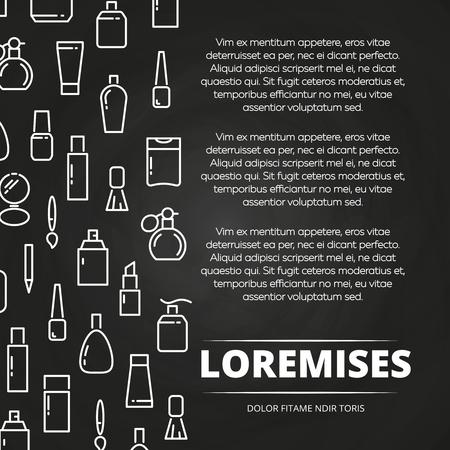 bath: White cosmetics bottles and accessorises chalkboard poster. Vector illustration Illustration