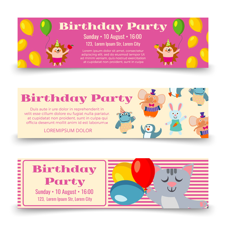 baby announcement card: Birthday party horizontal banners template with cute cartoon animals. Vector illustration