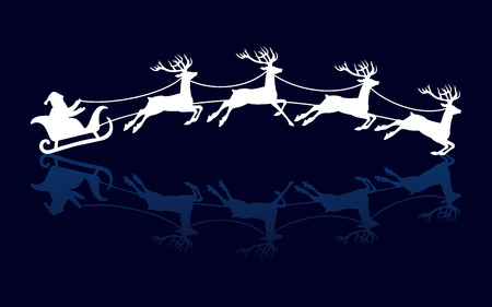 Silhouettes of Santa and deers. Winter holiday xmas, vector illustration Иллюстрация