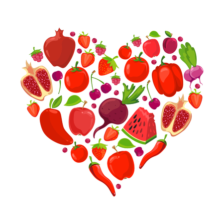 Heart shape of red fruits and vegetables. Healthy nutrition organic vector illustration Illustration