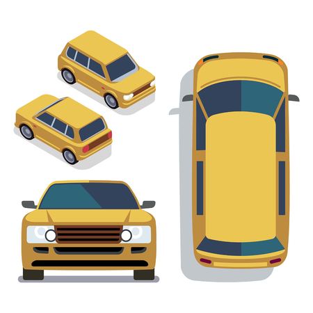 Vector flat-style cars in different views