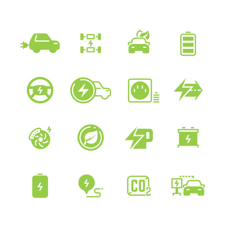 Electric Cars Line Vector Icons. Hybrid Battery Vehicles And ...