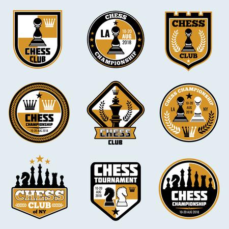 Schaakclublabels. Bedrijfsstrategie vectoremblemen en emblemen. Game schaken logo toernooi en kampioenschap illustratie Stockfoto - 85650016