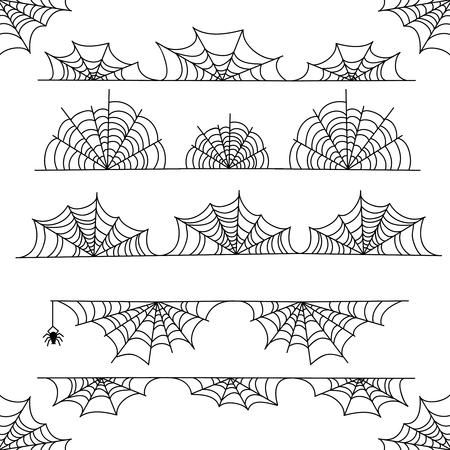 Bordure de cadre Halloween vecteur toile d'araignée et diviseurs isolés sur blanc avec toile d'araignée pour la conception effrayante de toile d'araignée