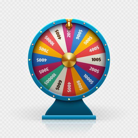 Ruletka 3d koło fortuny na białym tle ilustracji wektorowych na tle hazardu i koncepcji wygranej na loterii. Koło fortuny do gry i wygraj jackpota
