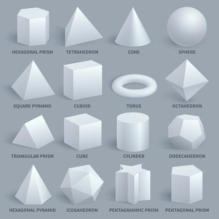 Realista blanco básico 3d formas vector set. Forma de geometría para la ilustración de la educación. Hexagonal y prisma, tetraedro y cono, esfera y pirámide. Ilustración de vector