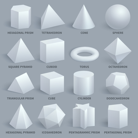 Realistic white basic 3d shapes vector set. Geometry form for education illustration. Hexagonal and prism, tetrahedron and cone, sphere and pyramid 免版税图像 - 86634333
