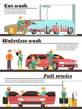 Vehicle cleaning service and car washing marketing banners set. Car wash service, auto cleaning automobile illustration Illustration