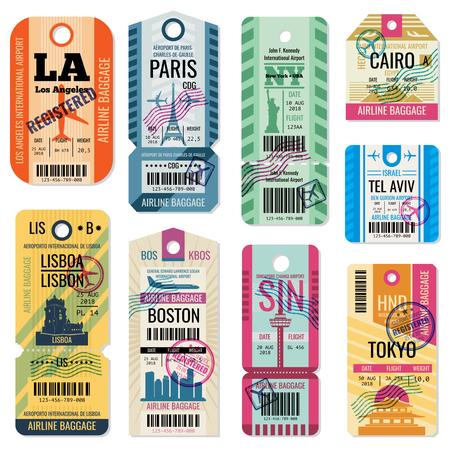 Retro etykiety bagażu podróżnego i bilety bagażowe z kolekcji wektorów symboli lotu. Przywieszka bagażowa zarejestrowana ilustracja