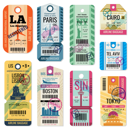 Retro travel luggage labels and baggage tickets with flight symbol vector collection. Luggage label tag registered illustration Фото со стока - 86634350