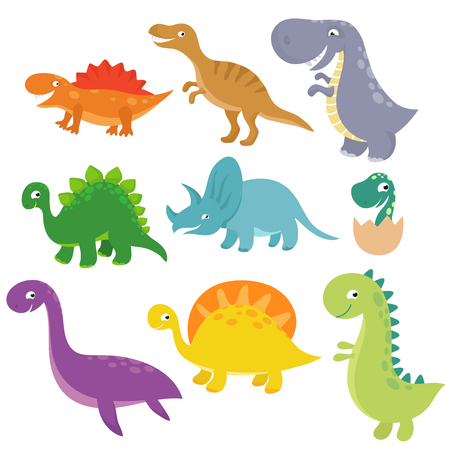 Cute baby dino vector characters isolated vector set. Cartoon colored dinosaur tyrannosaurus and triceratops illustration Illustration