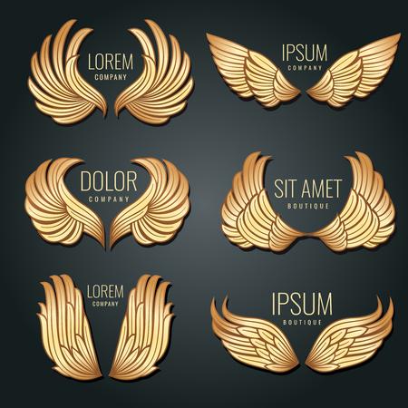 Gouden vleugel logo vector set. Angels en vogel elite gouden labels voor huisstijl ontwerp. Engel en adelaar vlucht vleugels badge illustratie