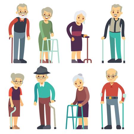 Conjunto de caracteres de vector de dibujos animados de personas mayores. Senior hombre y mujer parejas colección. Ilustración de pensionista abuela y abuelo de personas mayores Ilustración de vector