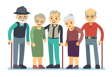 Group of old people cartoon characters. Happy elderly friends vector illustration. Grandmother and grandfather friends retirement Ilustração