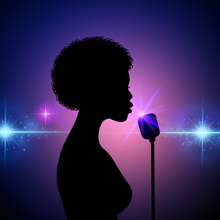 Silhouette of a female singer on an abstract background. Vector performer woman on concert, girl performing on stage illustration 일러스트