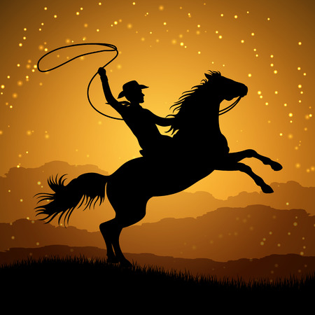 Silhouette of cowboy with lasso on rearing horse. Cowboy man with horse sunrise. Vector illustration