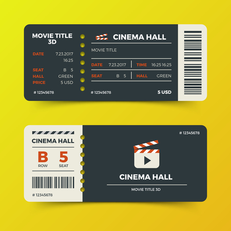 Modern cinema movie tickets vector design. Ticket to cinema hall 3d film illustration