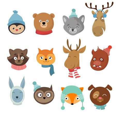 Winter xmas happy animals cartoon characters. Animals heads with neckerchief and hats vector set. Winter character animals illustration