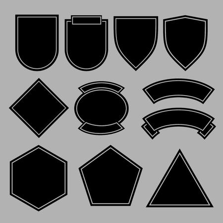 육군 패치 또는 군사 배지 템플릿 디자인. 검은 도형. 벡터 일러스트 레이 션