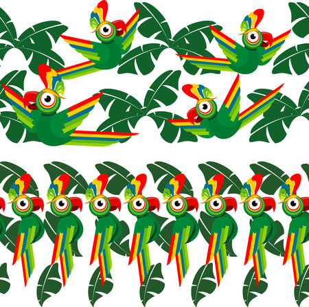 Tropical seamless borders design with palm leaves and parrots. Vector illustration Çizim