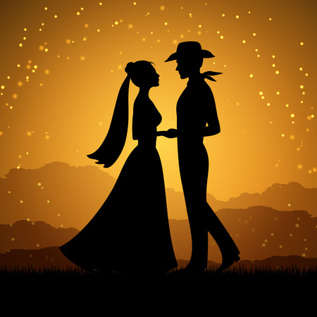 Silhouettes of young woman and cowboy man. Love couple, vector illustration