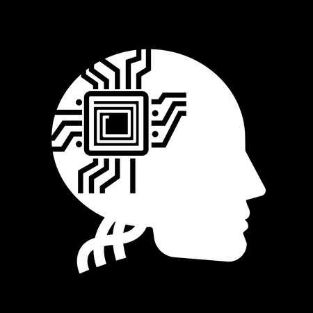 electronic components: White human shape with microchip on black backdrop - future of people label design. Vector illustration Stock Photo