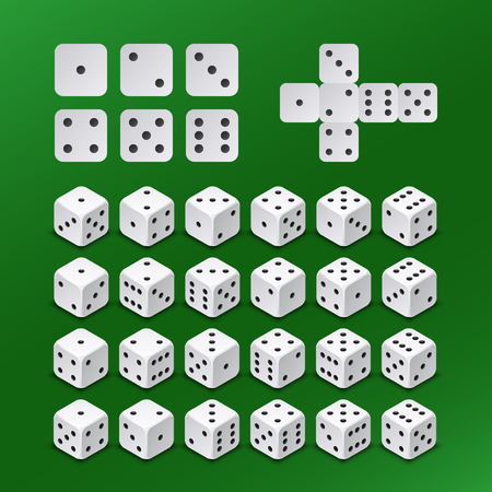 six objects: Dice gambling cubes in all possible positions vector set. Dice cube for play gambling game illustration