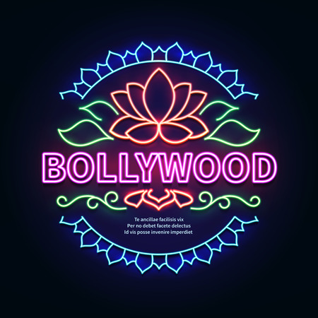 Vintage bollywood movie signboard. Glowing retro indian cinema neon vector sign. Illustration of bollywood cinema signboard Illustration