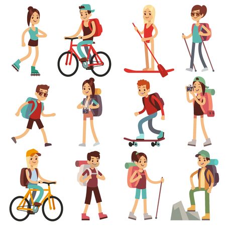 Travel happy people hiking outdoor actives. Vector flat characters set. Hiking and travel, character activity adventure illustration