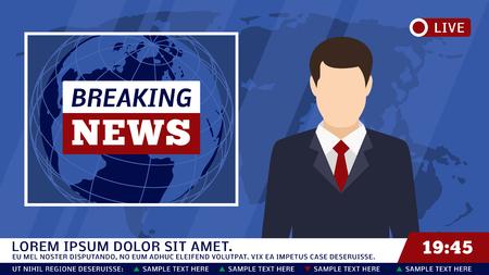 TV-nieuwstudio met omroep en brekende wereld vectorillustratie als achtergrond. Brekend nieuws op tv, omroepjournalist