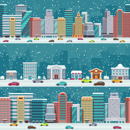 residential homes: Winter city streets with cars and buildings. Christmas night cityscapes with snowfall vector set. Winter xmas cityscape street with car in road illustration