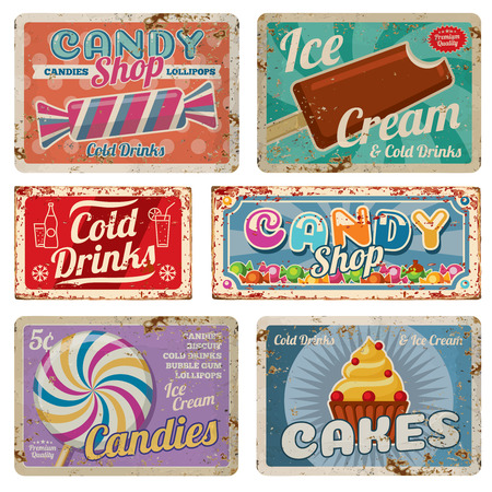 Vintage candy shop metal signs with rusty texture. Vector set candy shop and cold drinks metal old banner illustration