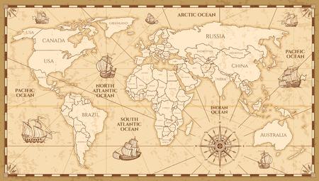 Vector antieke wereldkaart met landengrenzen. Antieke wereld vintage kaart, grunge Amerika en Europa illustratie