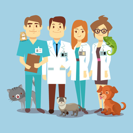 Flat veterinarians staff with cute animals. Veterinary and cartoon animals, vector illustration