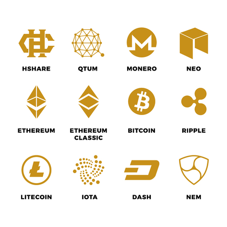 electronic background: Popular cryptocurrency bitcoin blockchain vector symbols. Virtual money bitcoin and cryptocurrency, ethereum and litecoin illustration Illustration